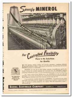 Borne Scrymser Company 1954 vintage textile ad Minerol lubricating