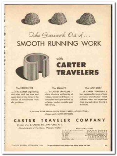 Carter Traveler Company 1954 vintage textile ad smooth running work