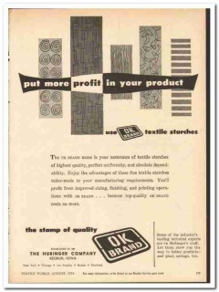 Hubinger Company 1954 vintage textile ad starches OK Brand quality