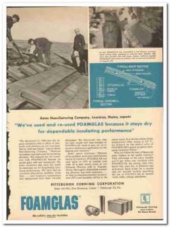 Pittsburgh Corning Corp 1954 vintage textile ad Foamglas Bates Mfg Co