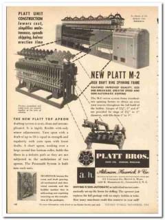 Platt Bros Sales Ltd 1954 vintage textile ad High Draft Ring Spinning