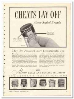 Aluminum Seal Company 1935 vintage glass bottle ad Alseco tamper-proof