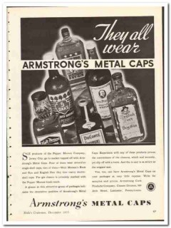 Armstrong Cork Products Company 1935 vintage glass ad metal cap Morson