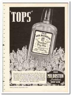 Ben Burk Inc 1935 vintage liquor ad Old Mr Boston Dry Gin tops