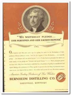 Bernheim Distilling Company 1935 vintage whiskey ad liquor Jefferson