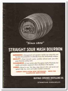 Buffalo Springs Distilling Company 1935 vintage whiskey ad sour mash
