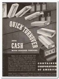 Container Corp of America 1935 vintage box ad Concora cartons turnover