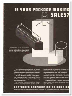 Container Corp of America 1935 vintage box ad carton package Christmas