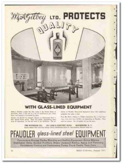 Pfaudler Company 1935 vintage glass ad Gilbey Protects Quality