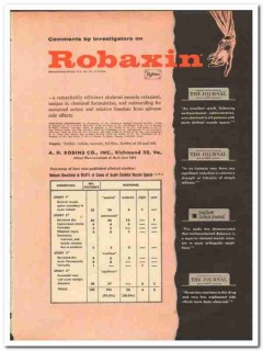 A H Robins Company 1959 vintage medical ad Robaxin muscle relaxant