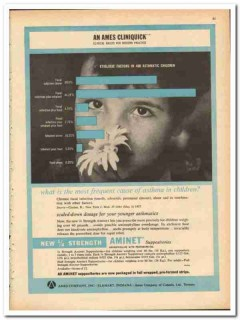 Ames Company 1959 vintage medical ad Aminet asthma children