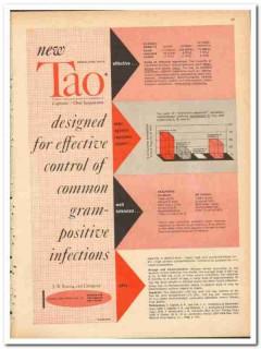J B Roerig Company 1959 vintage medical ad Tao infection control