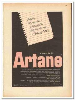 American Cyanamid Company 1959 vintage medical ad Artane Lederle Labs