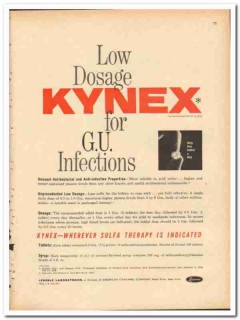 American Cyanamid Company 1959 vintage medical ad Kynex Lederle Labs