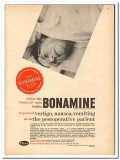 Chas Pfizer Company 1959 vintage medical ad Bonamine post-op spins