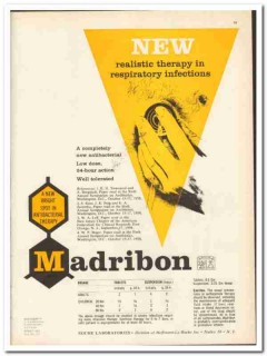 Hoffmann-La Roche Inc 1959 vintage medical ad Madribon respiratory