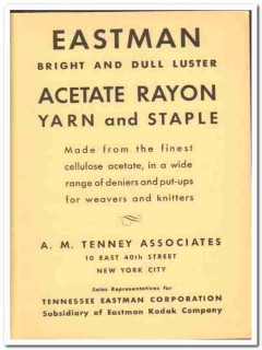 A M Tenney Associates 1941 vintage textile ad Eastman Acetate Rayon