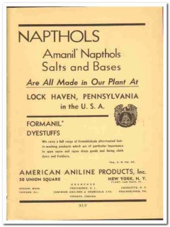 American Aniline Products Inc 1941 vintage textile ad Napthols