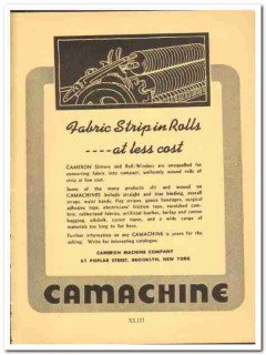 Cameron Machine Company 1941 vintage textile ad fabric strip rolls