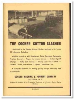 Cocker Machine Foundry Company 1941 vintage textile ad Cotton Slasher