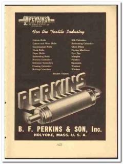 B F Perkins Son Inc 1949 vintage textile ad cotton wool rolls calender