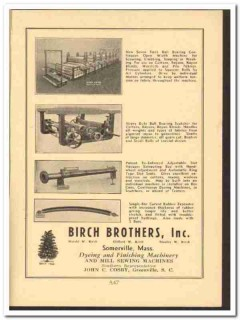 Birch Brothers Inc 1949 vintage textile ad dyeing finishing machinery