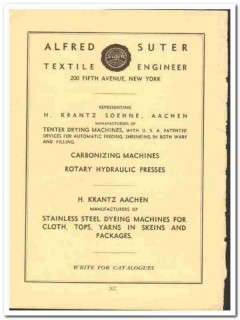 Alfred Suter Textile Engineer 1938 vintage ad Tenter drying machines