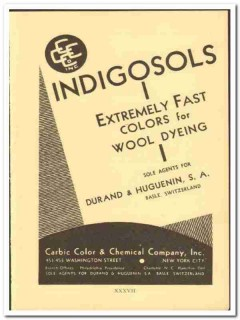Carbic Color Chemical Company 1938 vintage ad Indigosols wool textile