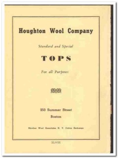 Houghton Wool Company 1938 vintage textile ad tops standard special