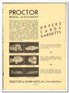 Proctor Schwartz Inc 1938 vintage textile ad wool machinery dryers