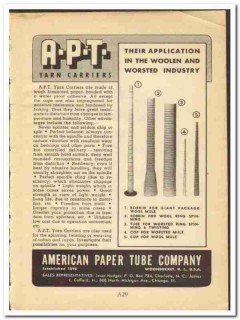 American Paper Tube Company 1948 vintage textile ad yarn carriers