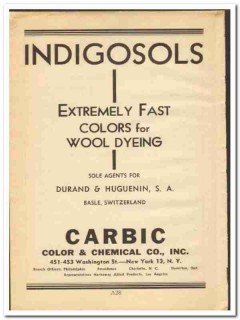 Carbic Color Chemical Company 1948 vintage ad Indigosols wool dyeing