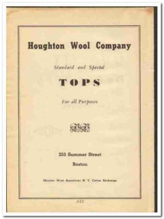 Houghton Wool Company 1948 vintage textile ad tops standard special