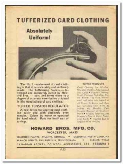 Howard Bros Mfg Company 1948 vintage textile ad Tufferized Card Cloth