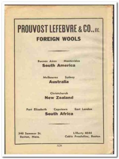 Prouvost Lefebvre Company 1948 vintage textile ad foreign wools