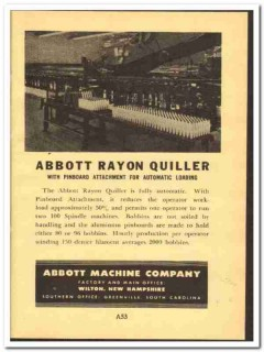 Abbott Machine Company 1952 vintage textile ad Rayon Quilter pinboard