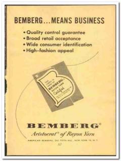 American Bemberg Corp 1952 vintage textile ad rayon yarn aristocrat