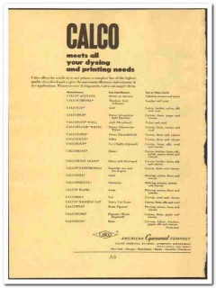 American Cyanamid Company 1952 vintage chemical ad Calco dyeing print