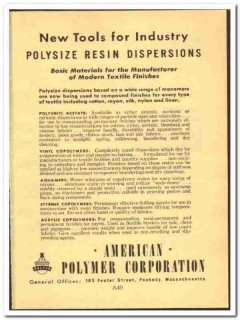 American Polymer Corp 1952 vintage chemical ad textile finishes resin