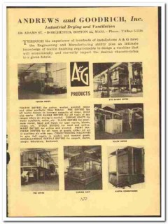 Andrews Goodrich Inc 1952 vintage textile ad industrial dryers finish