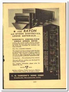 C G Sargents Sons Corp 1952 vintage textile ad rayon air-flow dryer