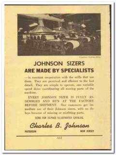 Charles B Johnson 1952 vintage textile ad sizers mill machine