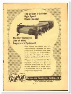 Cocker Machine Foundry Company 1952 vintage textile ad rayon slasher