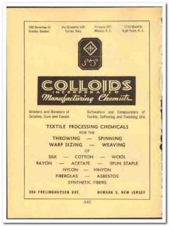 Colloids Inc 1952 vintage chemical ad textile processing silk cotton