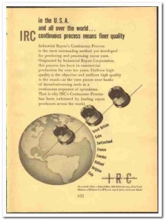 Industrial Rayon Corp 1952 vintage textile ad yarn Continuous Process