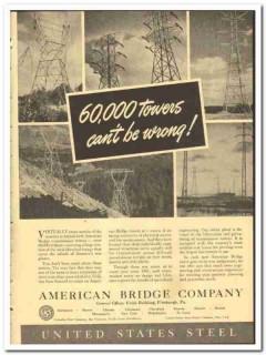 American Bridge Company 1943 vintage electrical ad towers