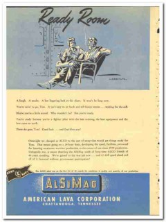 American Lava  Corp 1943 vintage electrical ad ready room Liebschultz