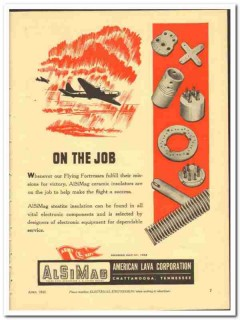 American Lava Corp 1943 vintage electrical ad Flying Fortresses job
