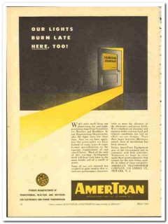 American Transformer Company 1943 vintage electrical ad lights late