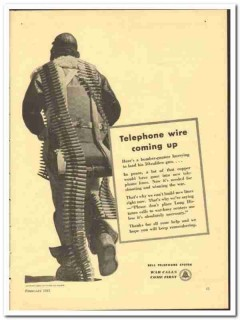 Bell Telephone System 1943 vintage electrical ad wire coming up